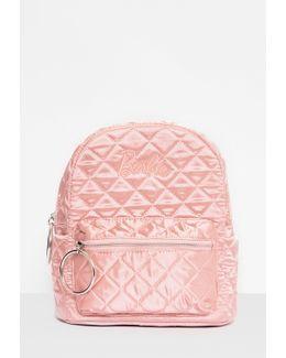 Barbie X Pink Satin Embroidered Rucksack