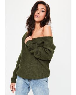 Khaki Off Shoulder Knitted Jumper