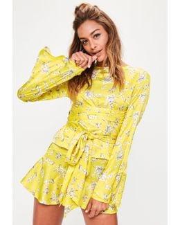 Yellow Floral Print Frill Shorts
