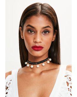Black Velvet Pearl Drop Choker Necklace