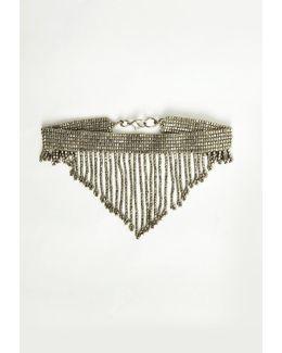 Silver Beaded Drop Tassel Choker Necklace