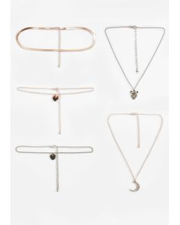 Rose Gold 4 Pack Charm Choker Necklaces