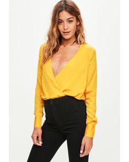 Yellow Wrap Front Hammered Satin Bodysuit