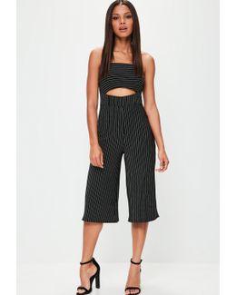 Black Striped Culotte Jumpsuit