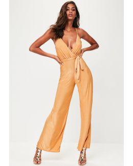 Gold Slinky Wide Leg Jumpsuit
