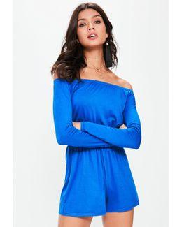 Blue Jersey Bardot Romper