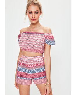 Pink Elasticated Waist Printed Shorts