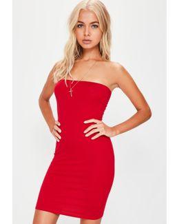 Red Bandeau Bodycon Mini Dress