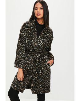 Brown Leopard Belted Coat