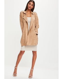 Brown Faux Suede Belted Trench Coat