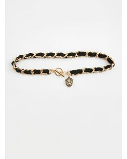 Black Lion Head Drop Detailed Choker Necklace