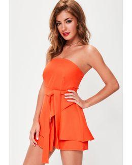 Orange Bandeau Tie Waist Short Playsuit