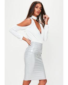 Grey Vinyl Midi Skirt