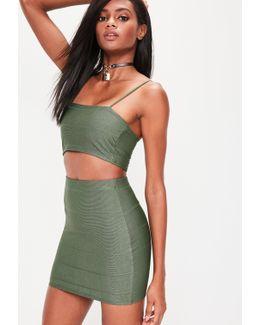 Khaki Bandage Mini Skirt