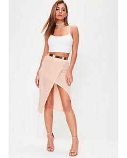 Nude Split Front Slinky Midi Skirt