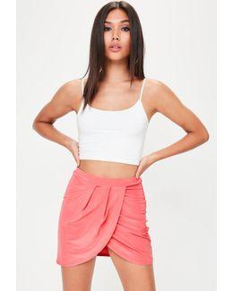 Pink Wrap Over Mini Skirt