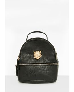Black Faux Leather Metallic Detail Backpack