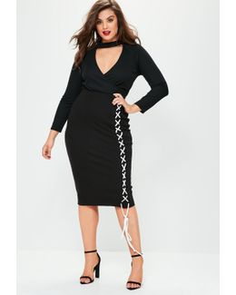Plus Size Ribbed Contrast Lace Up Detail Midi Skirt