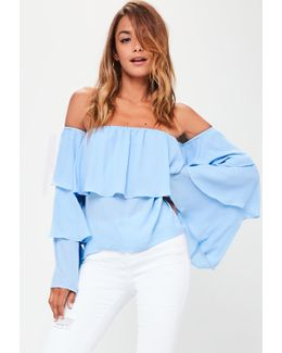 Tall Blue Chiffon Bardot Top