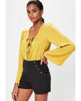 Black Lace Up Side Shorts