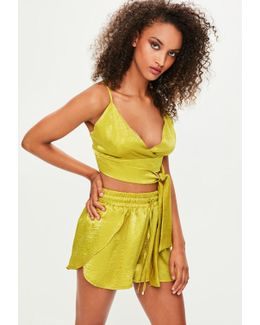 Londunn + Green Satin Shorts