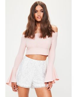 White Floral Lace Tailored Shorts