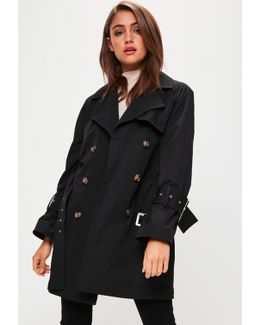 Black Stitched Belted Trench Coat