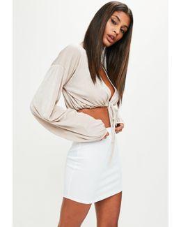 White Scuba Curve Hem Mini Skirt