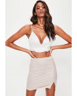 Nude Faux Suede Split Side Mini Skirt