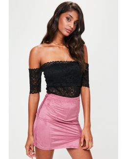 Purple Faux Suede Split Side Mini Skirt