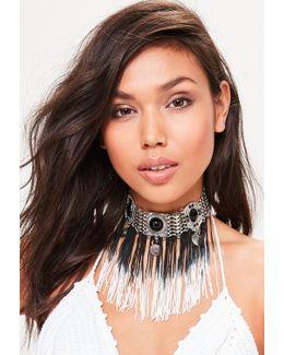 Silver Ombre Tassel Drop Choker Necklace