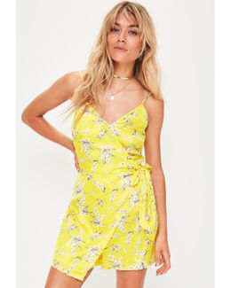 Yellow Cami Wrap Floral Romper