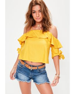 Yellow Tie Sleeve Cold Shoulder Top