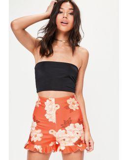 Red Floral Frill Hem Shorts