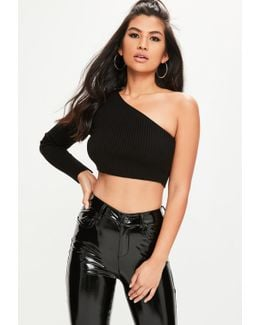 Black One Shoulder Knitted Crop Top