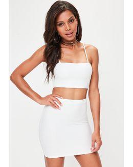 Petite White Bandage Ribbed Mini Skirt