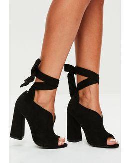 Black Flared Heel Wrap Around Heels
