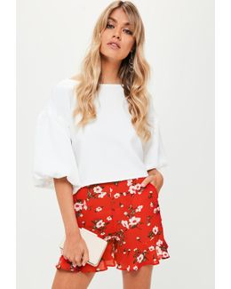 Red Floral Print Ruffle Shorts