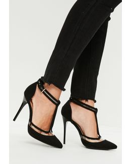 Black Clear T Strap Heeled Shoes