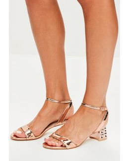 Rose Gold Metal Block Heeled Sandals