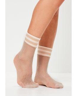 Nude Sports Band Fishnet Socks