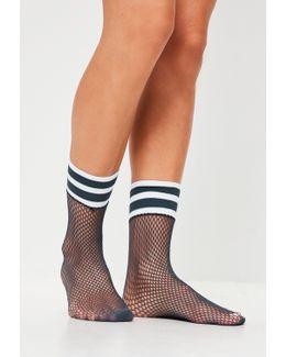 Navy Sports Band Fishnet Socks