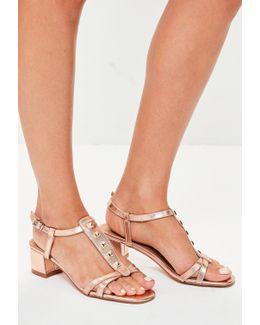 Rose Gold Studded Block Heels