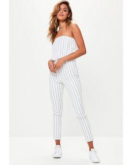White Stripe Double Layer Bandeau Jumpsuit