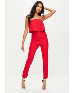 Red Bandeau Double Layer Jumpsuit