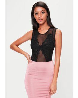 Black Embellished Front Mesh Bodysuit