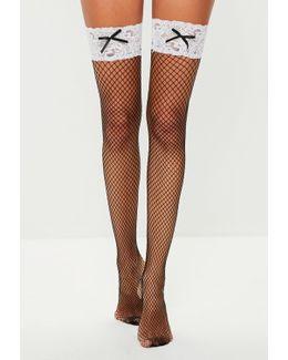 Black Lace Bow Fishnet Stockings