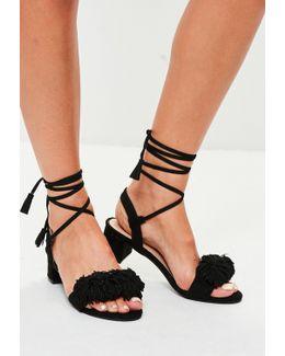 Black Ankle Tie Block Heel Sandals