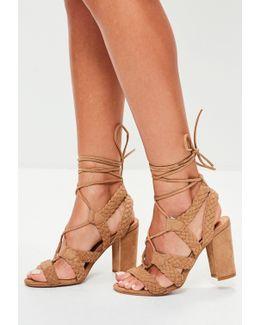 Brown Plaited Block Heel Sandal