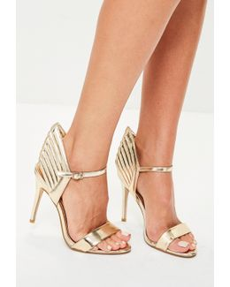 Gold Wing Back Barely There Heels